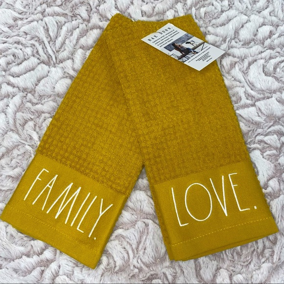 Rae Dunn FAMILY & LOVE kitchen towels